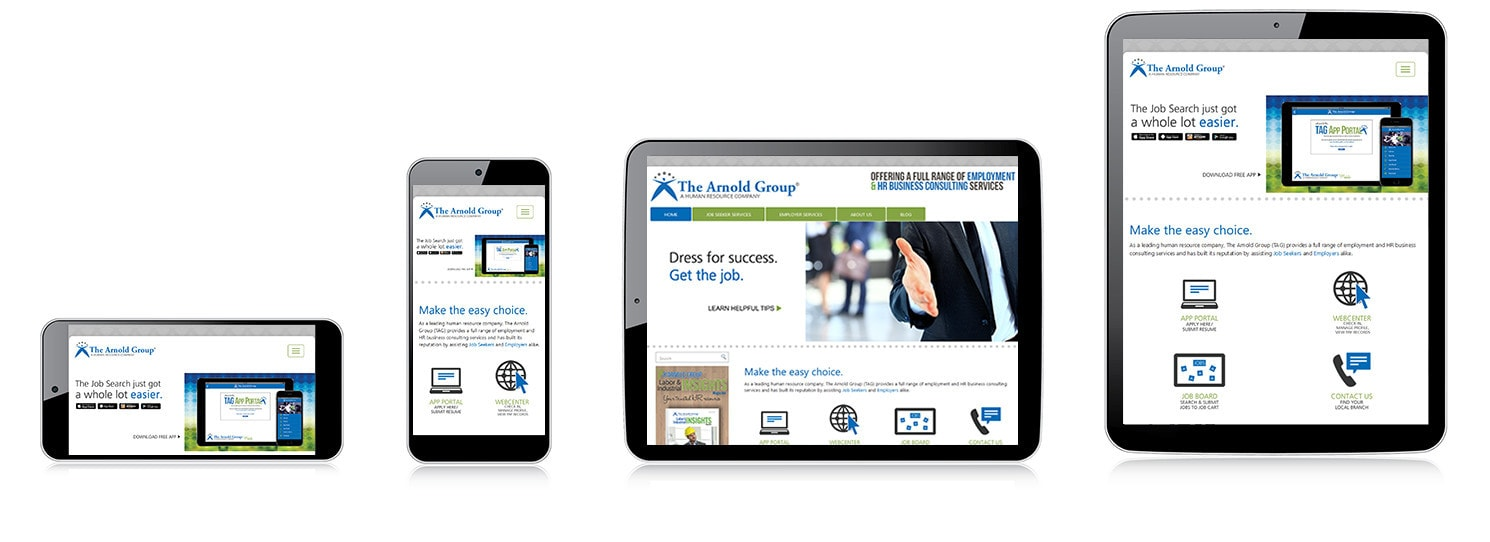 responsive web development for The Arnold Group.