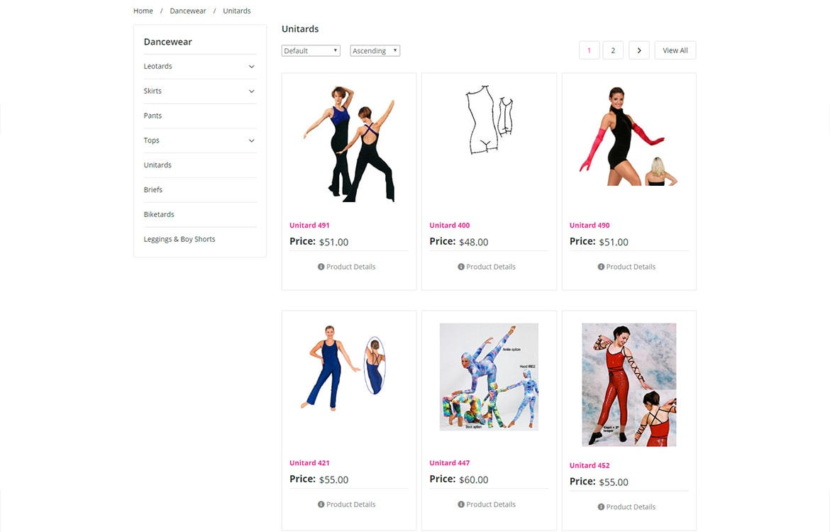 Pumpers Dancewear product category page