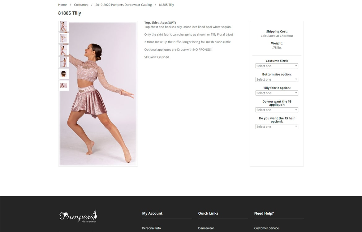 Pumpers Dancewear individual product page