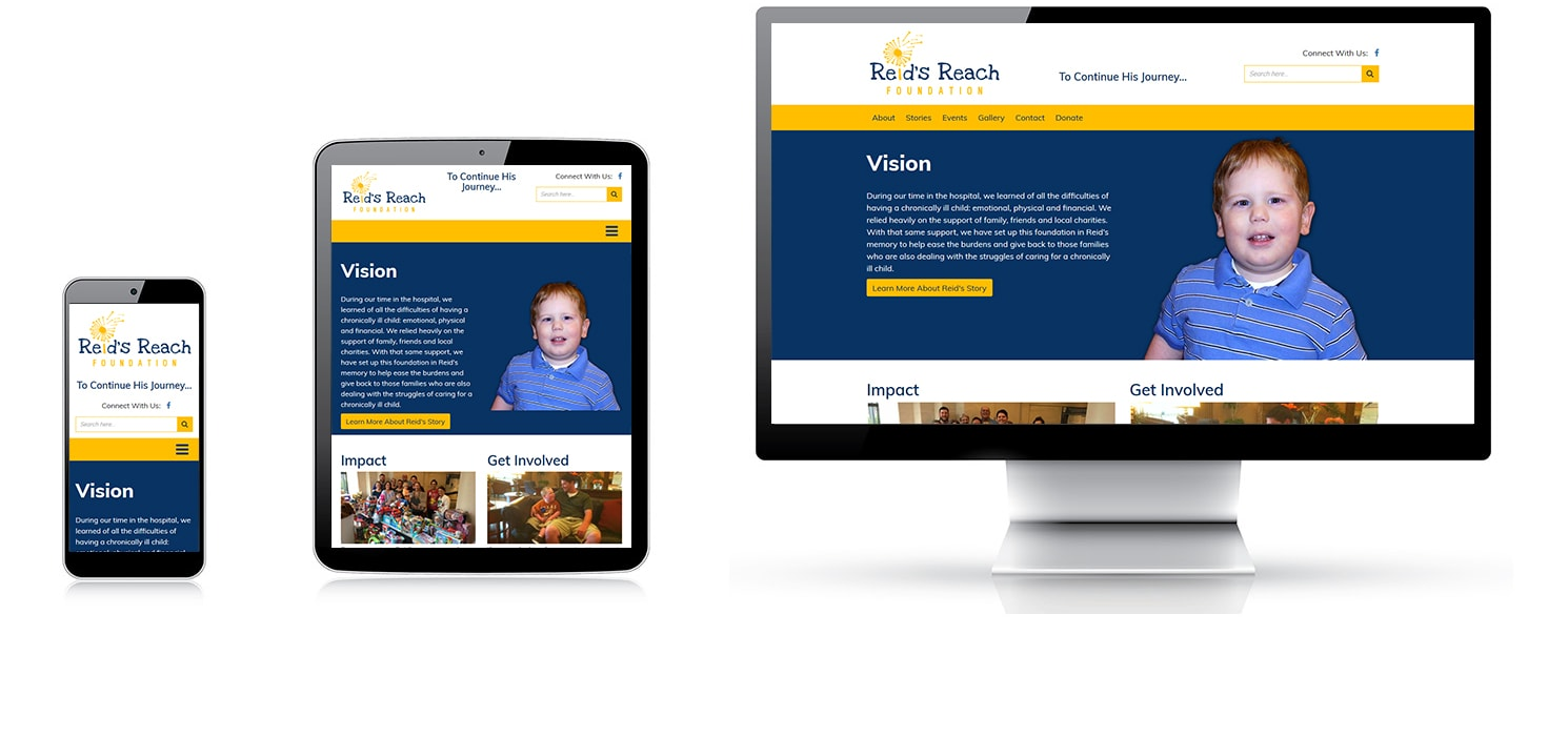 logo design, website development, and search engine optimization were provided for our client Reid's Reach