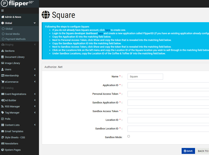FlipperSD Square Payment Gateway Set-Up Form