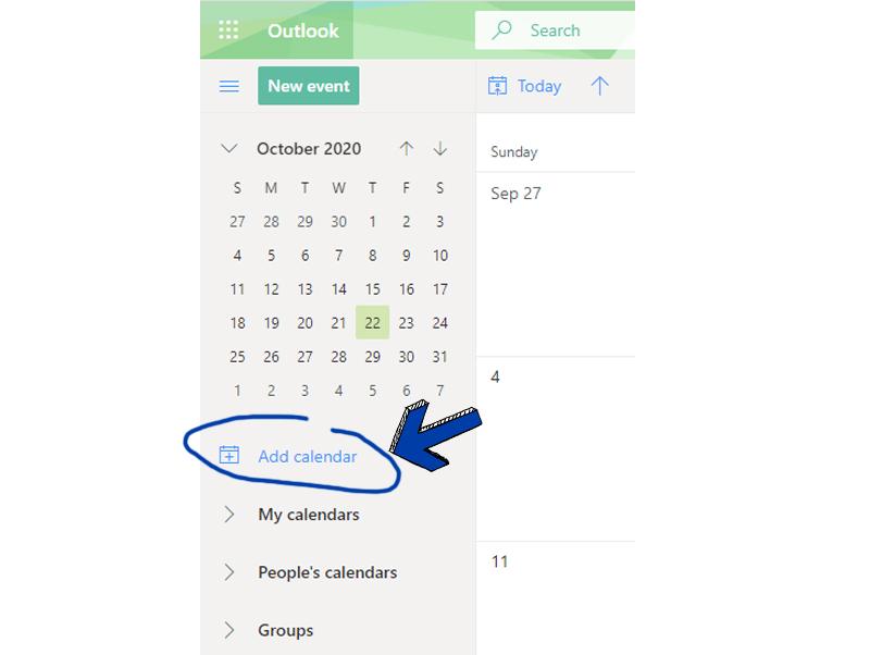 Click Add Calendar