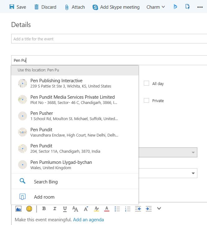 Office 365 Outlook email shared calendar poll