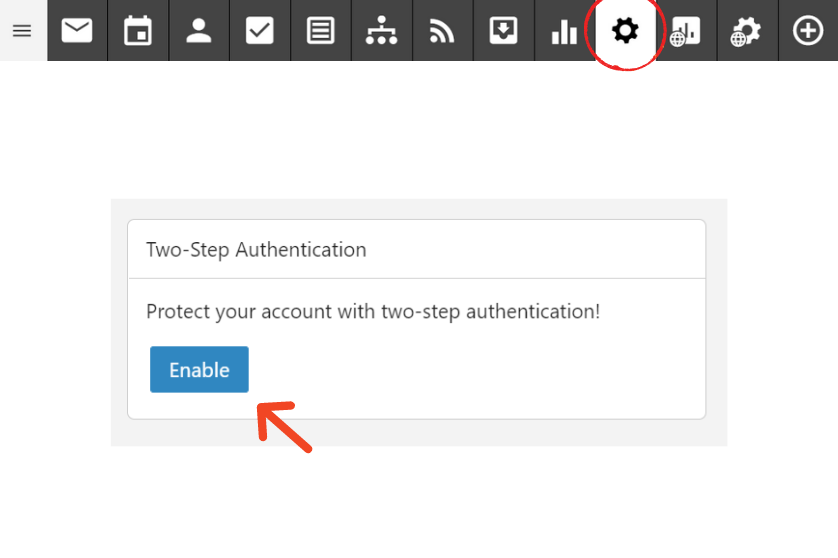 two factor authentication button in settings on smartermail email